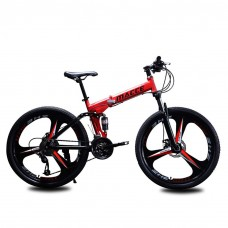 26 Inch 21-Speed Alloy Mountain Foldable Bike (Red)